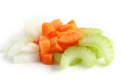 Classic mix of carrots, celery and onion all chopped up Stock Photos