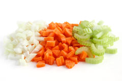 Classic mix of carrots, celery and onion all chopped up Royalty Free Stock Images