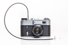 Classic 35mm old analog camera with cable release Royalty Free Stock Photo