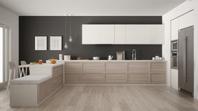 Classic modern kitchen with wooden details and parquet floor, mi Royalty Free Stock Image