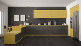 Classic modern kitchen with wooden details and parquet floor, mi. Nimalist gray and yellow interior design Stock Image