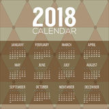 2018 Classic Modern Pattern Printable Calendar Starts Sunday. Vector Illustration Stock Images