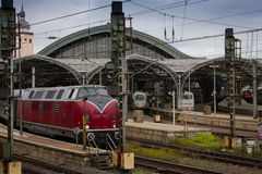 Classic and modern trains at Cologne station Royalty Free Stock Images