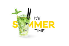 Classic Mojito Coctail  On White Background. Seasonal Summer Conceptual Banner. Vector Design Element.  Stock Photography