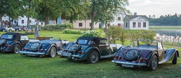 Classic Morgan car. Gysinge, Sweden - September 1 2018: Mog east autumn event with calssic Morgan cars in a rov on September 1, 2018 in Gysinge, sweden royalty free stock photo