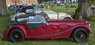 Classic Morgan car. Gysinge, Sweden - September 1 2018: Mog east autumn event with calssic Morgan cars in a rov on September 1, 2018 in Gysinge, sweden royalty free stock image