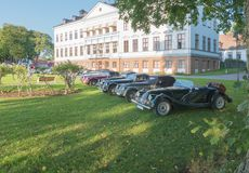Classic Morgan car. Gysinge, Sweden - September 1 2018: Mog east autumn event with calssic Morgan cars in a front of a Mansion on September 1, 2018 in Gysinge stock photos