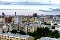 Classic Moscow City Overview On Sunset. Panorama. Royalty Free Stock Photo