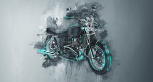 Classic motorcycle bike in gray Royalty Free Stock Photo