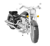 Classic motorcycle or bike isolated on white. Classic black leather and chrome motorbike or moto, isolated against a white background. 3D illustration Royalty Free Stock Photos