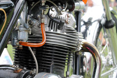 Classic british motorcycle engine. Close up Royalty Free Stock Photography