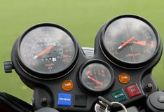 Classic motorcycle gauges Stock Photography