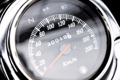 Classic motorcycle mileage dashboard , mileage in white and bl. Ack.classic motorcycle display odometer and fuel sign royalty free stock photo