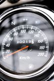 Classic motorcycle mileage dashboard , mileage in white and bl. Ack.classic motorcycle display odometer and fuel sign stock photography