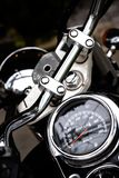 Classic motorcycle mileage dashboard , mileage in white and bl. Ack.classic motorcycle display odometer and fuel sign royalty free stock images