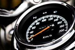 Classic motorcycle mileage dashboard , mileage in white and bl. Ack.classic motorcycle display odometer and fuel sign stock images