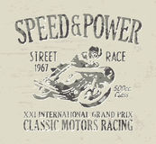 Classic motorcycle racing. Vintage vector artwork for boy t shirt in custom colors vector illustration