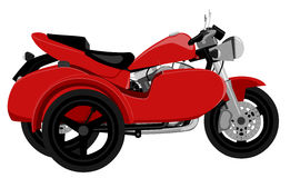 Classic motorcycle with sidecar side view graffiti style isolated illustration. Color classic caferacer motorcycle with sidecar side view graffiti style isolated Stock Photos