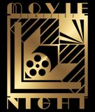 Classic Movie Night. Invitation art deco style of the 30`s 40`s old hollywood gold royalty free illustration