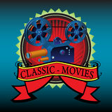 Classic movies. Abstract colorful illustration with movie projector and the text classic movies written on a red banner Royalty Free Stock Photo