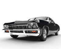 Classic muscle black car - front view closeup. Isolated on white background Royalty Free Stock Photography