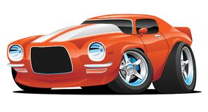 Classic Muscle Car Cartoon Illustration. Hot American muscle car cartoon. Orange with white stripes, aggressive stance, low profile, big tires and rims royalty free illustration