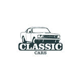 Classic muscle car emblems, high quality retro badge and vintage icon. Design elements for service car repair, restoration and car Royalty Free Stock Photo