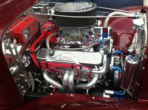 Classic Muscle Car Engine on Display Royalty Free Stock Image