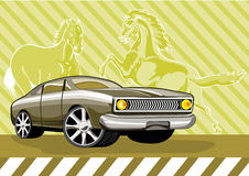 Classic muscle car mustang. Classic muscle car with mustang in background vector illustration