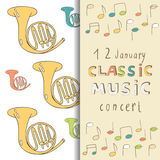 Classic music concert invitation card Stock Image