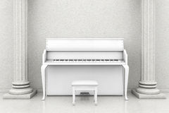 Classic music room with white piano. Music Concept. Classic music room with white piano royalty free stock photo