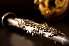 Classic music Sax tenor saxophone and clarinet in black Stock Image