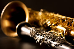 Classic music Sax tenor saxophone and clarinet in black Royalty Free Stock Images