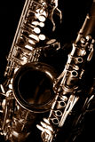 Classic music Sax tenor saxophone and clarinet in black Royalty Free Stock Photo