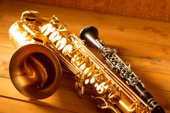 Classic music Sax tenor saxophone and clarinet vintage Royalty Free Stock Image