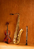 Classic music Sax tenor saxophone violin and clarinet vintage Stock Photography