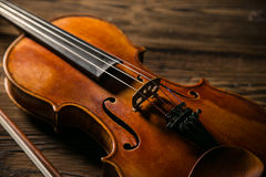 Classic music violin vintage in wooden background Stock Photography