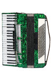 Classic musical instrument an accordion green. Green accordion isolated on white background Stock Photography