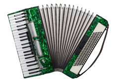 Classic musical instrument an accordion green. Green accordion isolated on white background Royalty Free Stock Photography