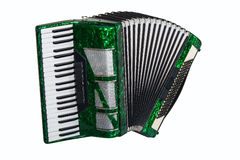 Classic musical instrument an accordion green. Green accordion isolated on white background Stock Photo