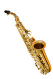 Classic musical instrument saxophone. Isolated on white background Royalty Free Stock Photography