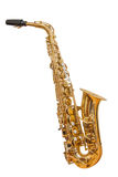 Classic musical instrument saxophone. Isolated on white background Stock Photo