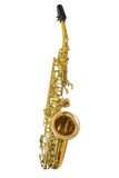 Classic musical instrument saxophone isolated on white background. A classical wind musical instrument saxophone isolated on white background Stock Photo