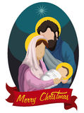 Classic Nativity Scene with Baby Jesus, Joseph and virgin Mary, Vector Illustration. Nativity scene with the Holy Family with ribbon Stock Illustration