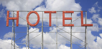 Classic neon hotel sign Stock Photography