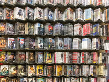 Classic And New Hollywood Production Movies On Dvd For Sale In Entertainment Center Stock Image