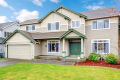 Classic new Northwest American large house exterior. Stock Image