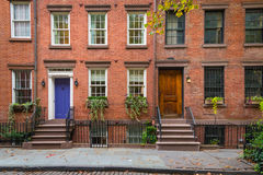 Classic New York apartment buildings in Greenwich Village. Old apartment buildings in Greenwich Village, New York City royalty free stock photos