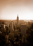 Classic New York City. Wonderful sepia view of New York City from Top of the Rock Stock Images