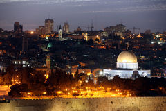 Classic Night view of Temple Mount with Dome of the Rock and old Royalty Free Stock Photo